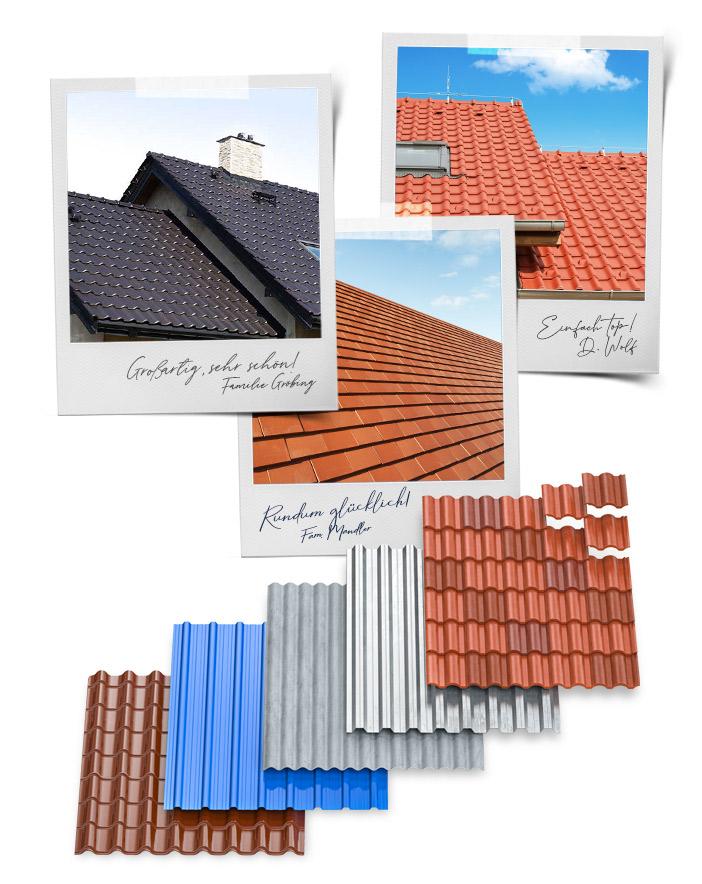 3 Fotos von verschiedenen Dächern der Kunden und darunter eine Anordnung von 5 verschiedenen Dacharten.
